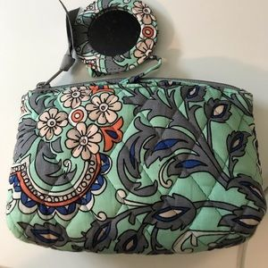 Vera Bradley Cosmetics bag with attached mirror